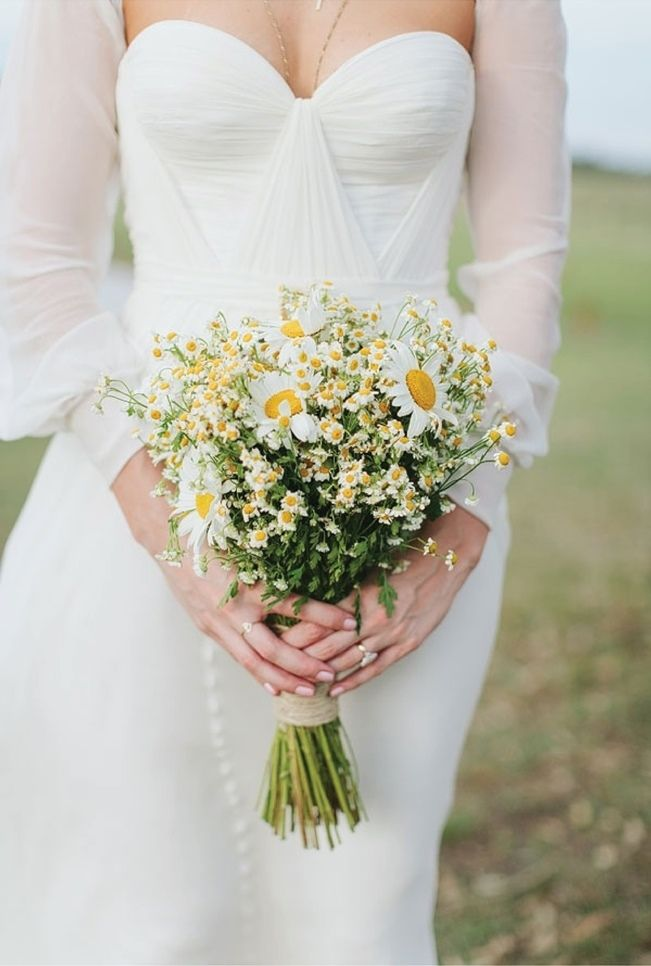 Rustic Shabby Chic Boho Country Wedding Bouquet Showcasing White Yellow Daisies Chrysanthemums Chamomile Hand Tied With Twine