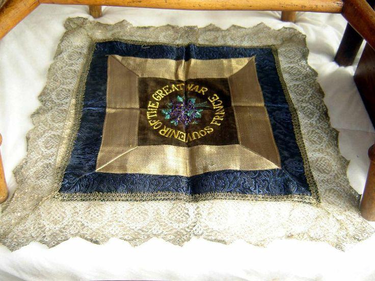 World War 1 1914 -1918 Souvenir Embroidered Cushion Cover - FRANCE