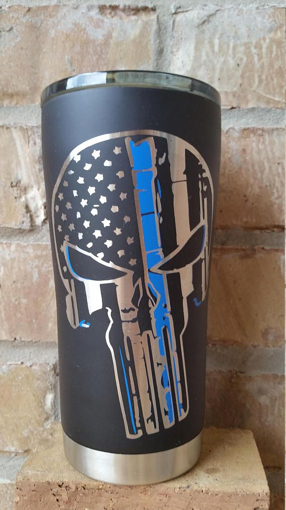 Rambler 30 oz Tumbler Punisher Thin Red Line Firefighter With Lid Brand NEW