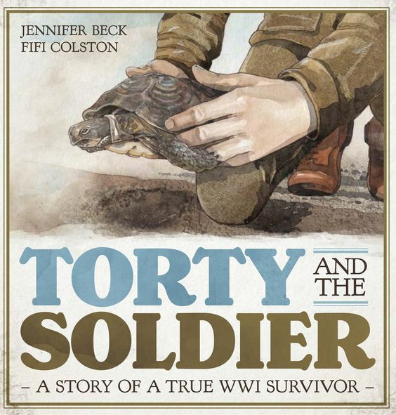"""Torty and the soldier : a story of a true WWI survivor"", by Jennifer Beck ; iIllustrations, Fifi Colston - Meet Torty! She's one tough little tortoise with a beat-up shell and some missing toes. Torty survived a great war that raged in Europe one hundred years ago. Torty was rescued back then by a young Kiwi soldier. She is truly a World War One survivor. 2017 Finalist Non-Fiction Elsie Locke Award"