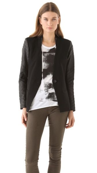 Helmut Lang Madillo Blazer: an edgy, modern update with leather sleeves.