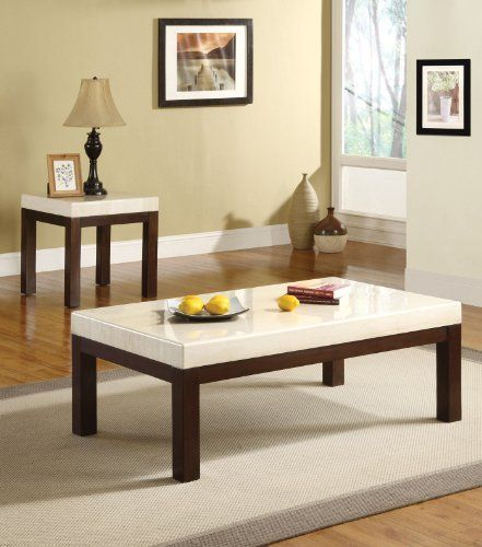 acme kyle faux marble top coffee table white by acme kyle