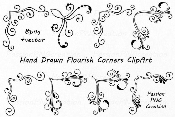 Hand Drawn Flourish Corners Clipart Flourish Swirls Borders Etsy In 2020 How To Draw Hands Clip Art Wedding Drawing