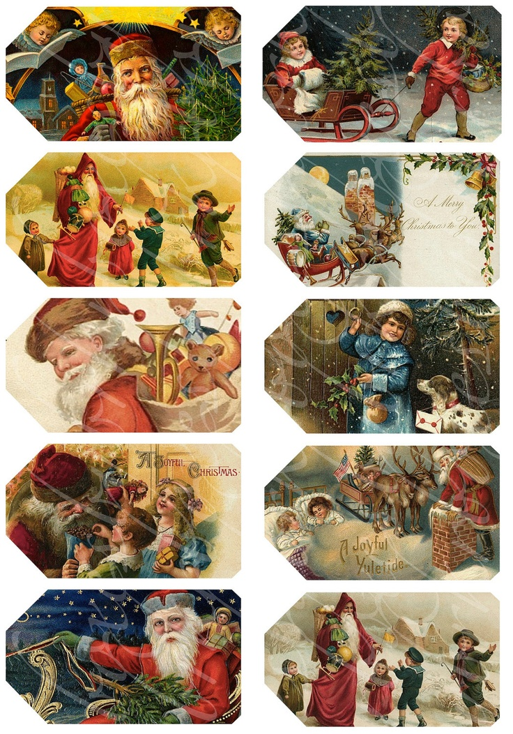 10 Christmas tags gift tags, hangtags, digital collage sheets for paper crafts, printable images,