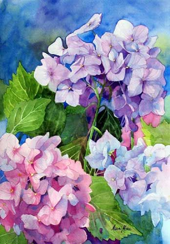 Pretty pink and purple hydrangeas, flower painting by Marni Maree