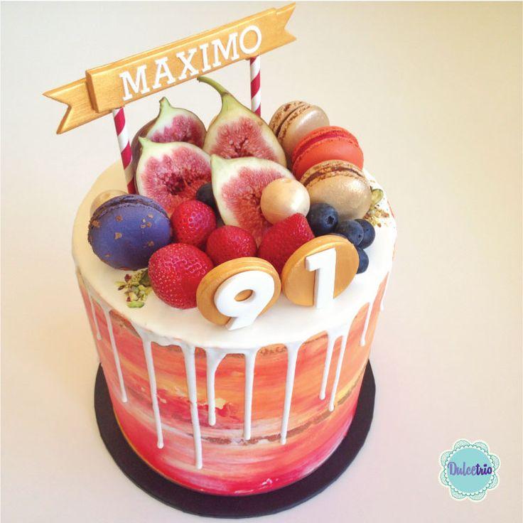 Vibrant #watercolors to celebrate a 91th #birthday. #nakedcake #fruits #chocolatedrip #birthdaycake #celebration #red #orange #yellow