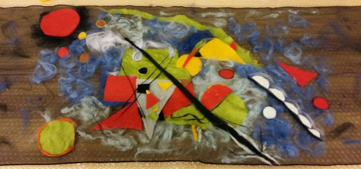 Scialle in nunofeltro pittorico ispirato a Kandinsky