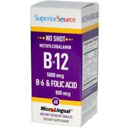 Superior Source, Methylcobalamin B12 5000 Mcg, B-6 & Folic Acid 800 Mcg Microlingual, 60 Tablets, Diet Suplements 蛇