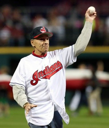 Tito Francona, father of Cleveland Indians manager Terry Francona, throws out the first pitch in the ALDS.  October 6, 2016.  (Chuck Crow / The Plain Dealer)