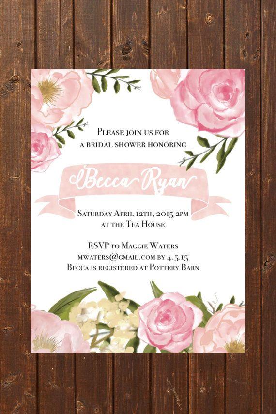 bridal shower invitation ideas craft%0A Blush Bridal Shower Invitation
