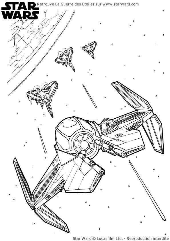 Le Vaisseau De Luke Skywalker Qui Livre Bataille Avec La Flotte De Lempire Galactique Une A Colorier