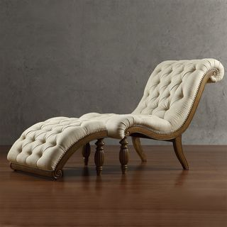 Tribecca home bellagio beige linen button tufted curved for Button tufted chaise lounge