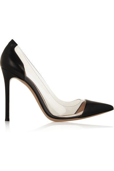 """""""The real luxury of shoes lies in the pleasure of slipping them on,"""" says Gianvito Rossi of his expertly crafted footwear. Made in Italy with an elegant point toe and slim heel, these timeless PVC-paneled black leather pumps will work with everything from weekend denim to cocktail dresses."""