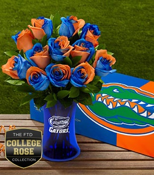 I am such a sucker for gator orange and blue! these are so tacky they are cute!: 12 Stems, Gator Rose, Vase Included, Rose Bouquet, Bouquets, Roses, Florida Gator, College Rose, Flower