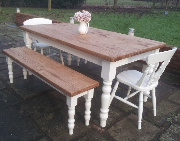 "stunning farmhouse table and benches hand crafted by Farmhouse Vintage. Painted with F&B ""white tie"""