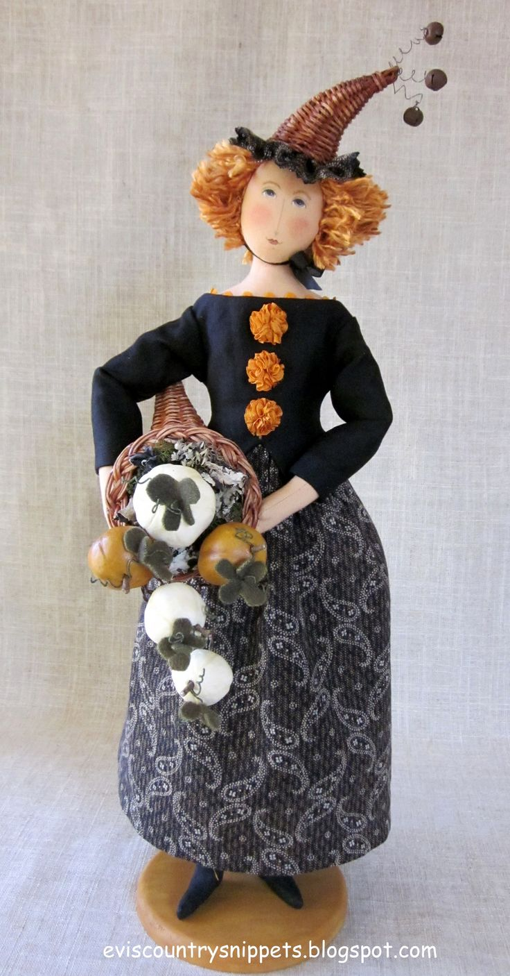 Sharing the harvest. Doll designed and made by me using antique fabrics and notions.