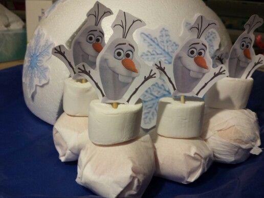 Mandarijn, marshmallow, satéstokje en printje van hoofdje van olaf