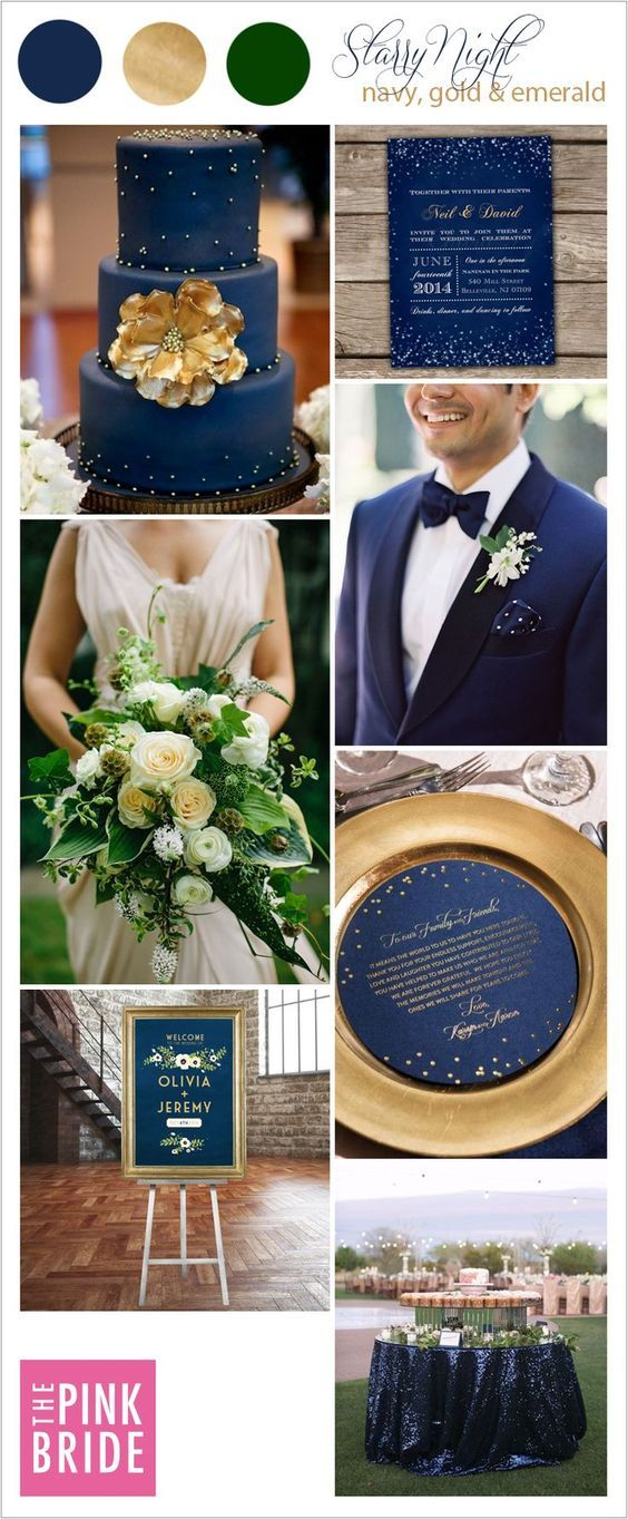 Starry Night wedding color board with navy, gold, and emerald wedding inspiration | The Pink Bride® www.thepinkbride.com
