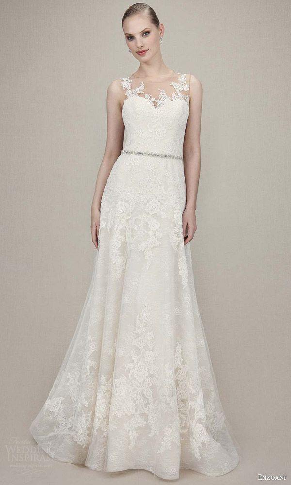 enzoani bridal 2016 karina sleeveless lace romantic wedding dress a line beaded attached belt