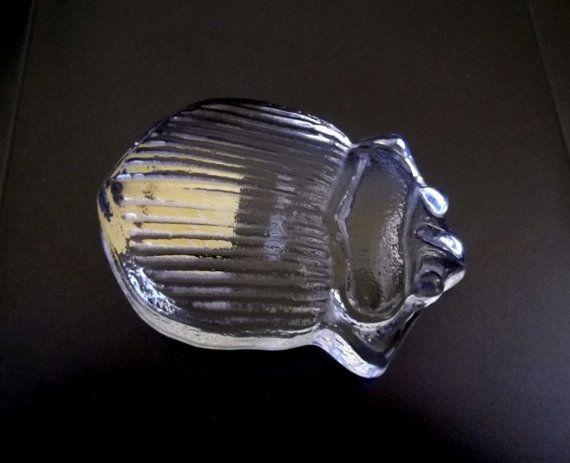 Royal Krona Lisa Larsson glass beetle  -- Swedish art glass -- with labels