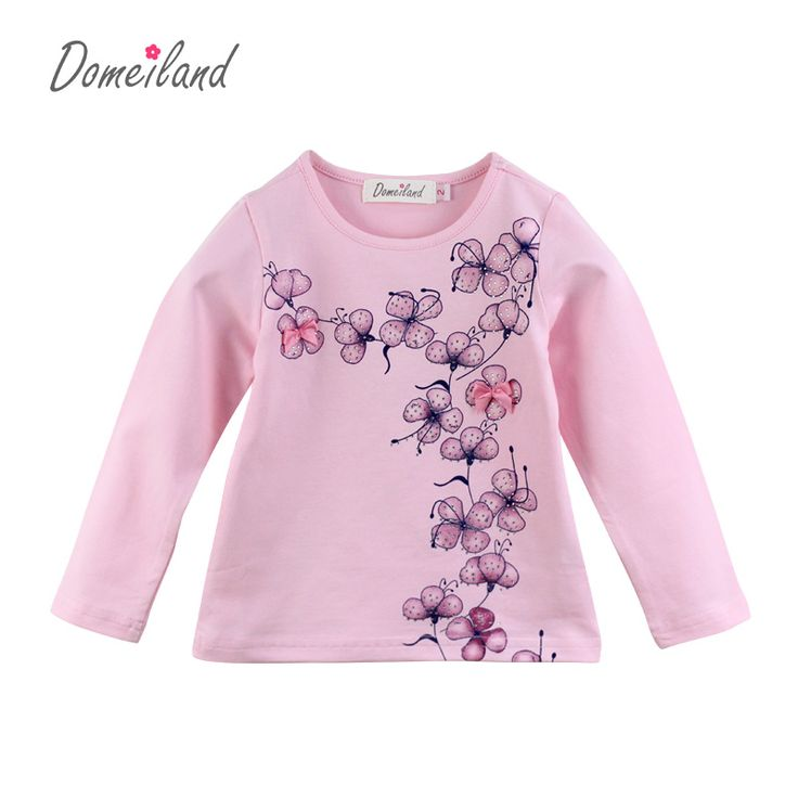 2017 Fashion spring brand Domeiland Children Clothes Print floral Long Sleeve kids girl Rhinestone Bow T-Shirts Cotton clothing //Price: $ //     ##babyfashion