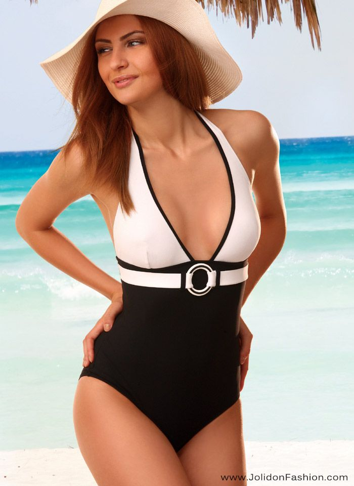 Stylish Black & White One Piece Bathing Suit - Jolidon Designer ...