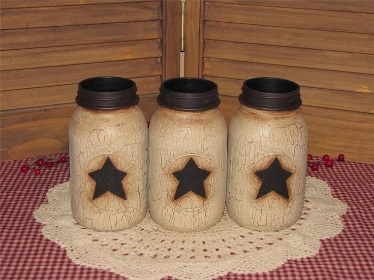 Primitive painted vintage glass mason jars crackled black star farmhouse country