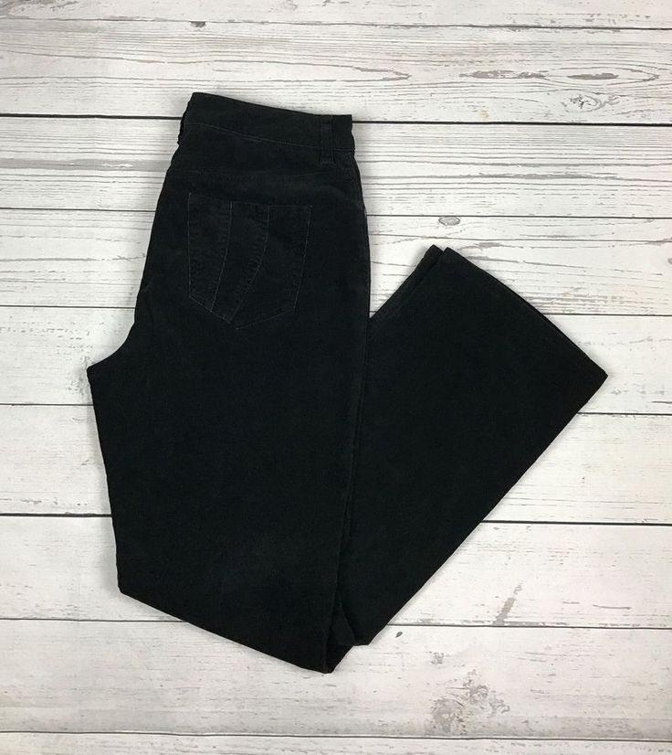 Chico's womens 1 (Small 8) black cotton blend stretch corduroys pants #Chicos #Corduroys