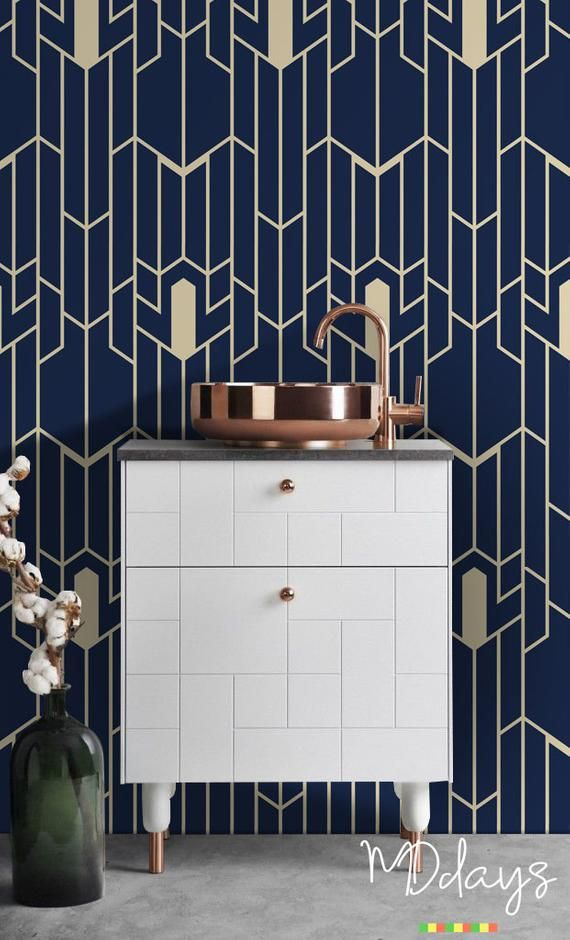 Geometric Pattern Removable Wallpaper Navy And Gold Wall Etsy Removable Wallpaper Gold Walls Cleaning Walls