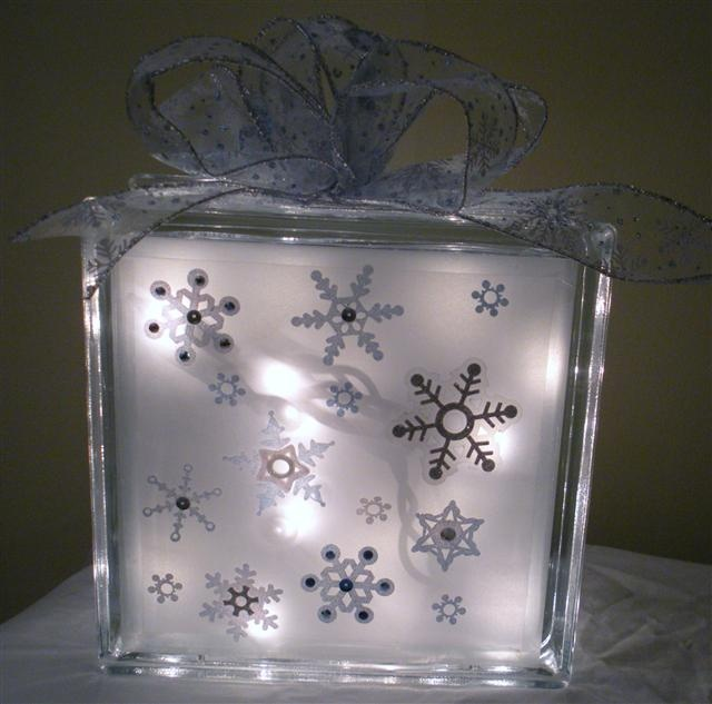 Glass Block ideas: apply snowflake stickers on INSIDE of glass and spray frost inside as well- then remove stickers :)