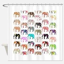 Girly Whimsical Retro Floral Elepha Shower Curtain for