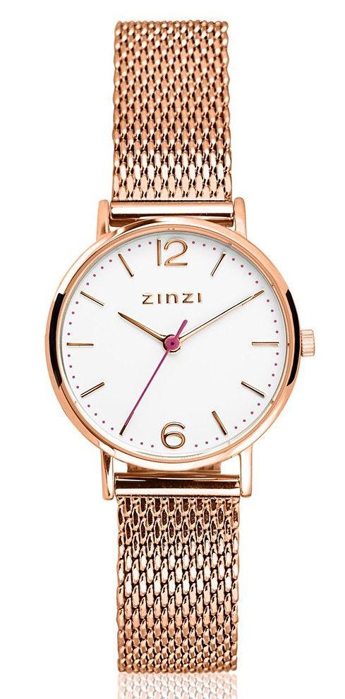 Zinzi horloge Lady + Gratis Armband ZIW608M. Zinzi horloge, model 'Lady' met gratis zilveren, rosekleurig armbandje. Het nieuwe 'Lady' model is sportief, trendy en tijdloos tegelijk. Geïnspireerd op de 'Seventies', maar met de bekende Zinzi touch ontworpen. De rosekleurige kast met een doorsnede van 28 mm heeft een witte wijzerplaat met rosékleurige index en wijzers. De meshband sluit door middel van een klepsluiting.