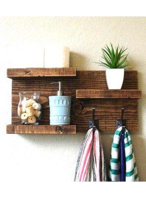 Mensola da bagno porta asciugamani in legno 60x30x12