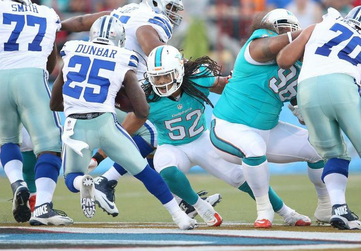 At the end of the 3rd quarter, the Cowboys lead 17-3.  Listen to tonight's game in the Dolphins Game Center here: http://www.miamidolphins.com/team/schedule/game/2013/preseason0/