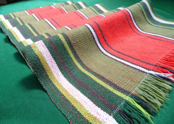 Vintage handwoven linen and cotton table runner / rug by Retroom, $18.00