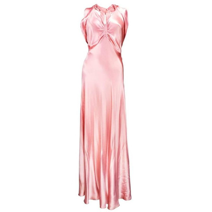Heavenly 30s Art Deco Pink Slipper Satin Bias Cut Gown | From a collection of rare vintage evening dresses and gowns at https://www.1stdibs.com/fashion/clothing/evening-dresses/