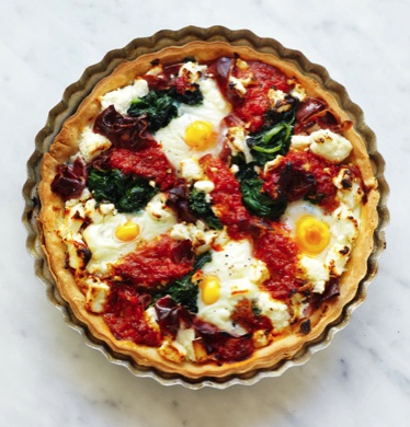 Tarts without tops: prosciutto, egg and spinach with capsicum tapenade. From April marie claire. Photographed by Louise Lister.  Recipe by Kerrie Worner. Styled by Jane Roarty. Produced by Emma Wheater.