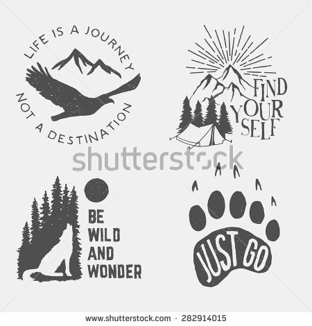 set of wilderness hand drawn typography posters, emblems and quotes. artworks for hipster wear. vector Inspirational illustration  - stock vector