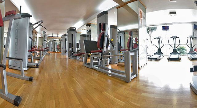A modern full equipped gym on holidays. Working out everywhere, everyday.