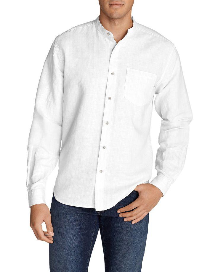 Men's Linen/cotton Banded Collar Shirt | Eddie Bauer