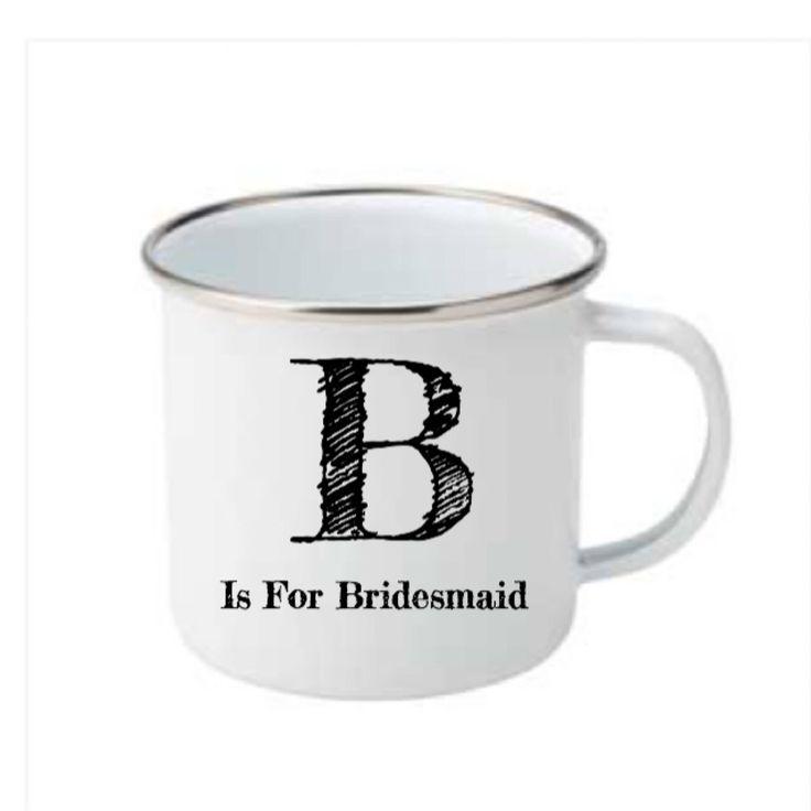 A personal favourite from my Etsy shop https://www.etsy.com/uk/listing/534658730/bride-mug-personalised-mug-enamel-mug
