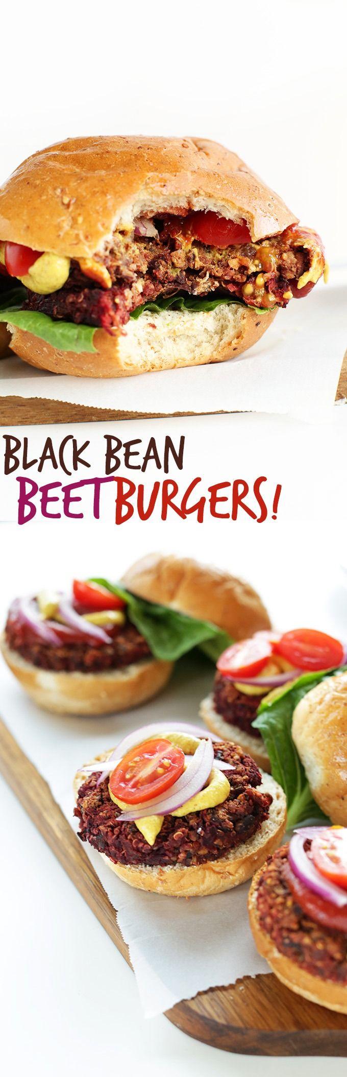 10-ingredient SUPER flavor veggie burgers loaded with healthy ingredients like black beans, beet and quinoa! #vegan #glutenfree