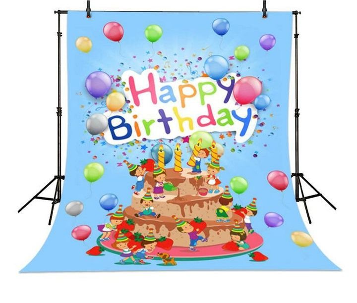 wholesale Balloon Princess Cake Happy Birthday Blue photographers backgrounds vinyl and Flannelette cloth Computer print children kids digital backgrounds for photography