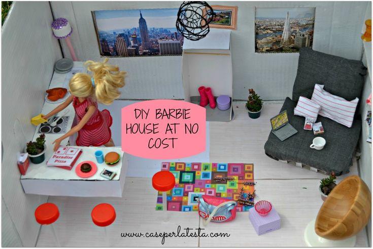 Diy barbie house form a cardboard box