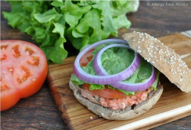 Slammin' Alaska Salmon Burgers with Garlic Dill Aioli (gluten free & Paleo)