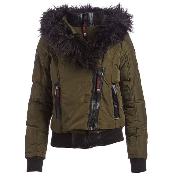 Canada Weather Gear Olive & Black Faux Fur-Trim Bomber (760 CZK) ❤ liked on Polyvore featuring outerwear, jackets, long army green jacket, zip jacket, long olive green jacket, long bomber jackets and faux fur trim jacket