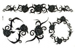 Swinging Black Roses (4 tattoos)