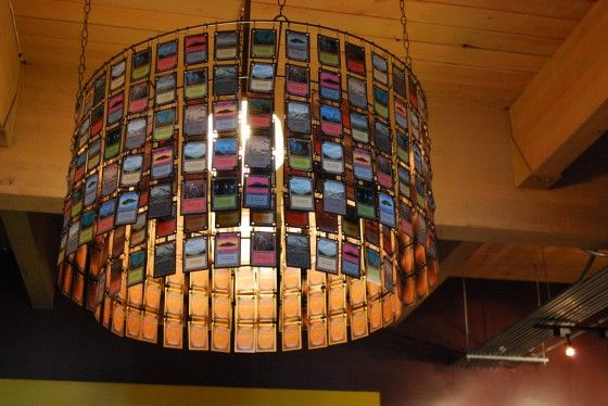 Chandelier made out of Magic: the Gathering land cards, as seen in Card Kingdom's Seattle store!