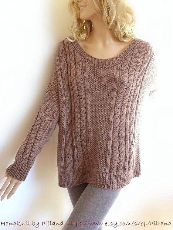 Hand Knit Sweater Bat sleeves Open neckline tunic by Pilland