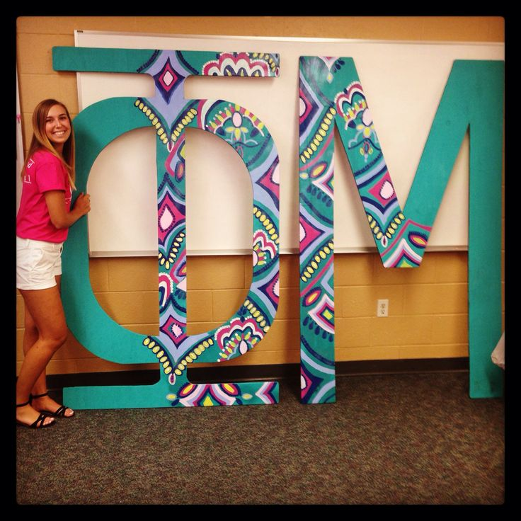 #phimu giant wooden painted sorority letters